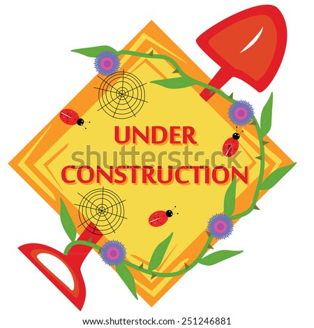 Diamond icon of under construction with spade, bugs, webs and thorn plant - stock vector