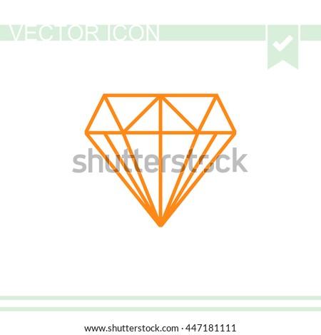 Diamond icon vector. - stock vector