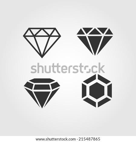 Diamond  icons set, flat design - stock vector
