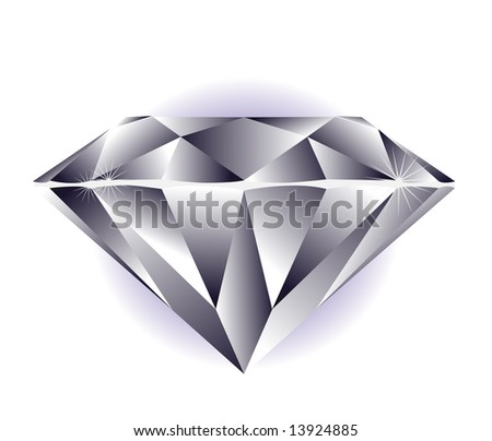 Diamond illustration on a white background. - stock vector