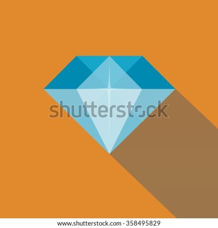 Diamond in Flat Style - stock vector