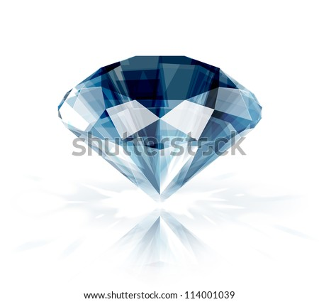 Diamond isolated on white -  realistic vector illustration - stock vector
