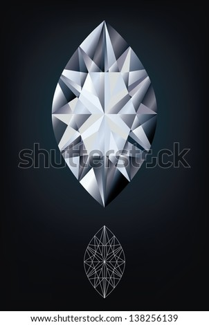 Diamond marquise jewel, vector illustration