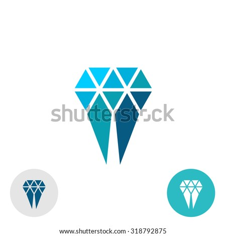 Diamond molar simple logo. Triangle particles style sign. - stock vector