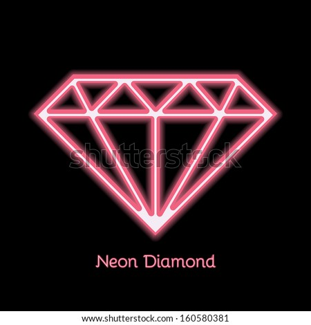 Diamond or gem neon symbol in vector - stock vector