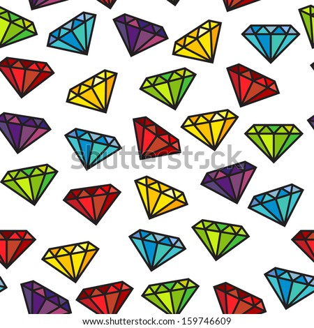 Diamond or gem seamless pattern in vector - stock vector