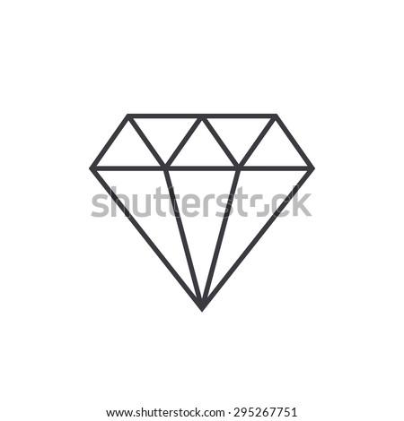 Diamond outline icon, modern minimal flat design style, thin line vector illustration - stock vector