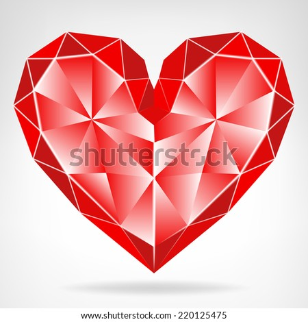 diamond red heart icon isolated vector on white illustration - stock vector