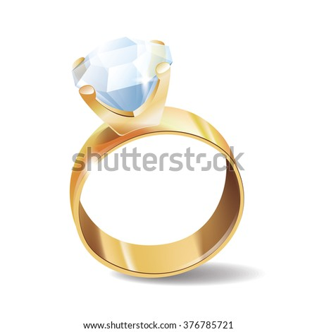 Diamond ring vector icon, isolated on white background - stock vector