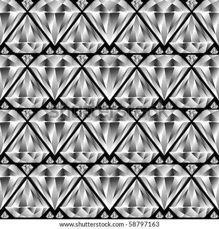diamond seamless pattern, abstract texture; vector art illustration - stock vector