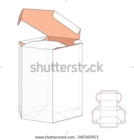 Diamond Shaped Box with Die Cut Template - stock vector
