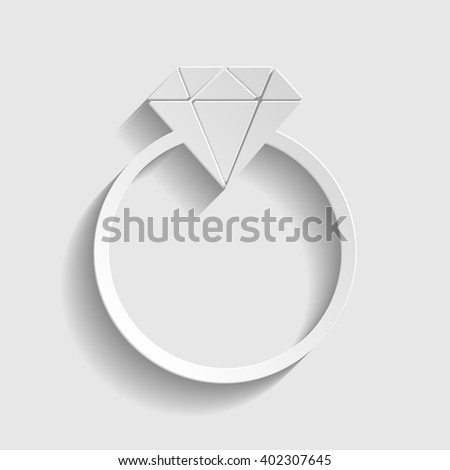 Diamond sign. Paper style icon - stock vector