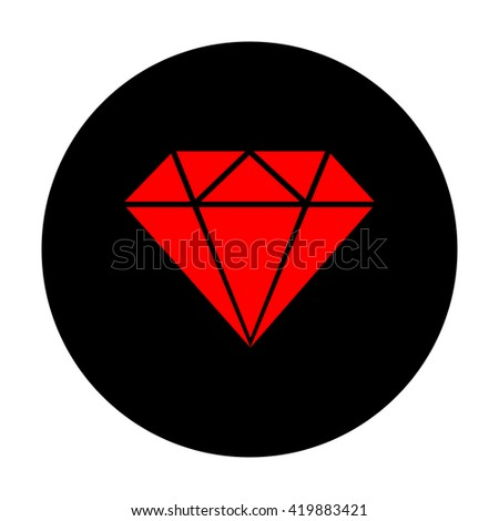 Diamond sign. Red vector icon