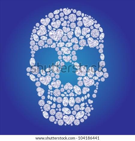Diamond skull on blue background - stock vector