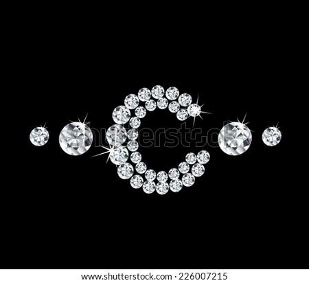 Diamond vector alphabetic letter 'C' - stock vector