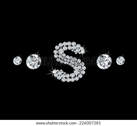 Diamond vector alphabetic letter 'S' - stock vector