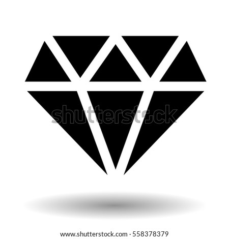 Diamond vector icon isolated over white. Monochrome gem stone illustration.