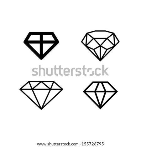 Diamond Vector Icon Symbol Set - stock vector