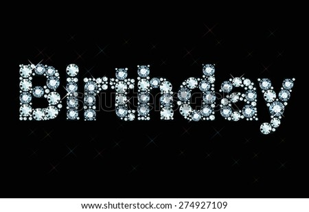 Diamond word birthday - stock vector