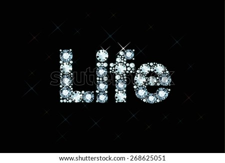 Diamond word life - stock vector