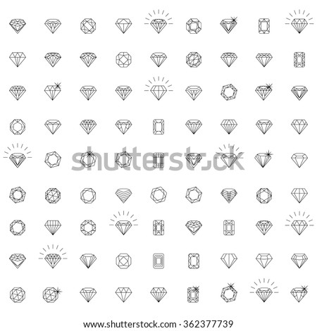 Diamonds, a large set of different versions of the diamond stone - stock vector
