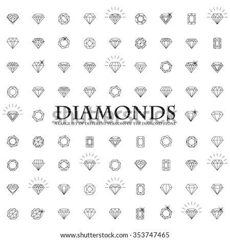 Diamonds Icons set, design element, symbol of the success of wealth and fame - stock vector