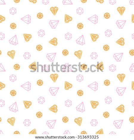 Diamonds on white background. Cute seamless pattern. Gold texture. Pink color. Handmade. Vector illustration. - stock vector
