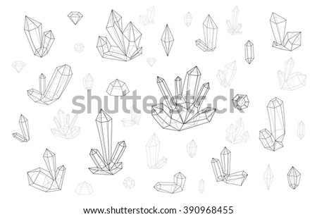 Diamonds set isolated on a white background fashion brightly colored hipster style. Natural stones crystal rhinestones  - stock vector
