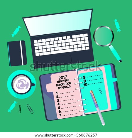 Diary New Year Blank List Resolution Stock Vector 560876257 ...