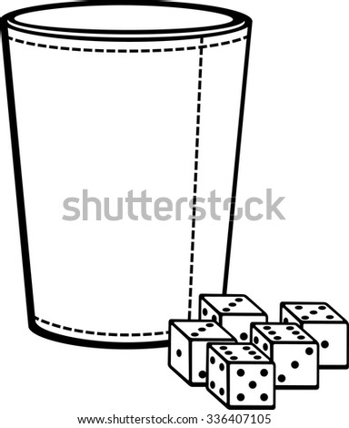 dice cup with dices - stock vector