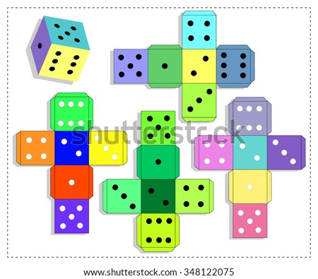 Dice for board game. Template - stock vector