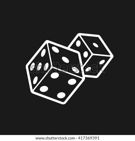 Dice game or casino house logo design template. Two devil's bones flat linear icon isolated on black background - stock vector