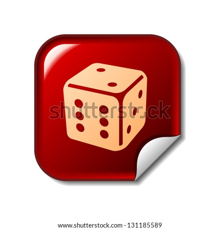 Dice icon on red sticker - stock vector