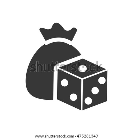 dice money bag casino vegas icon. Flat and Isolated design. Vector illustration
