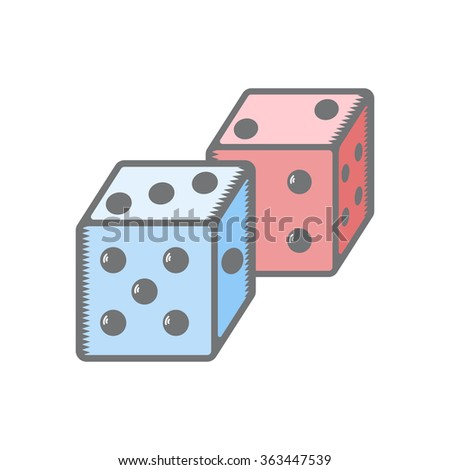 dice playing vector illustration simple - stock vector