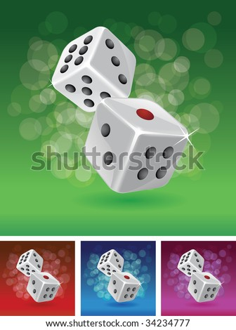Dices vector illustration set. CMYK colors. Dices and background are separated layers in vector file. - stock vector