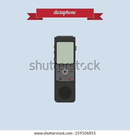 Dictaphone. Flat style design - vector - stock vector