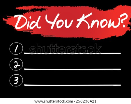 Did You Know Blank List, vector concept background - stock vector