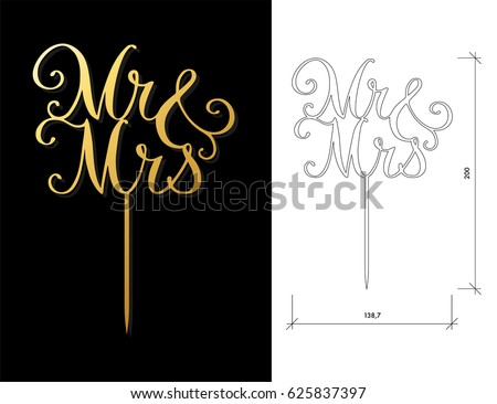 Die cut cake topper laser cut stock photo photo vector laser cut vector words mrmrs cutout handmade silhouette junglespirit Image collections