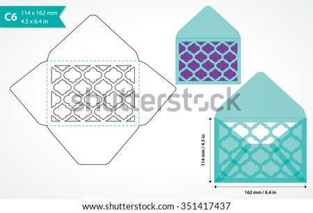 Die Cut Envelope Template Vector Standard Stock Vector