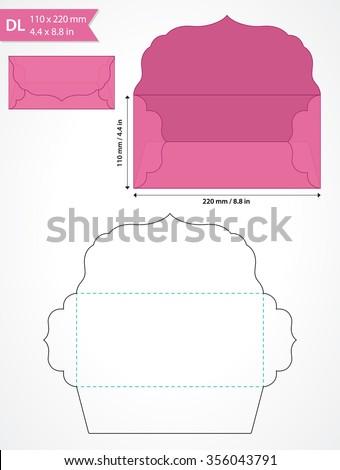 die cut vector envelope template swirly stock vector royalty free