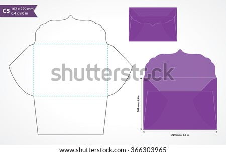 Die cut wedding envelope template with original flap. Paper cutout envelope of standard international C5 size to hold A5 size wedding invitation card. May be used for cards and wedding stationery. - stock vector