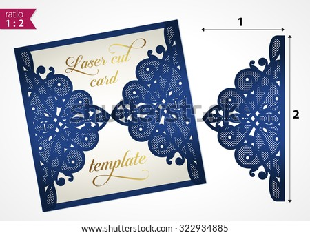 Die cut wedding invitation card template. Paper cut out card with lace. Laser cut pattern. Beautiful laser cut invitation card for wedding. Paper cutouts. Wedding invitation template. Paper cutting. - stock vector