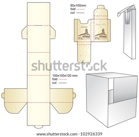 die gift paper box - stock vector