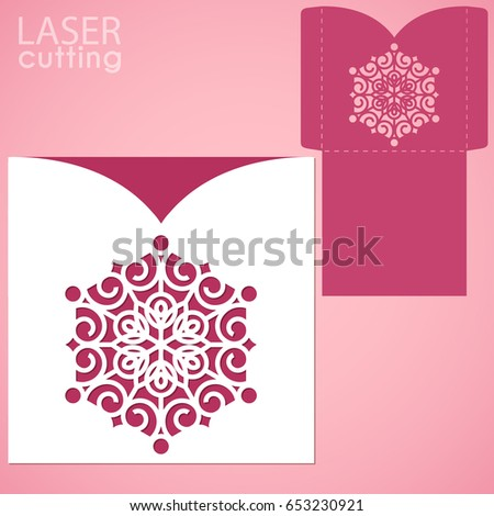 Vector Die Laser Cut Envelope Template Stock Vector 592226951