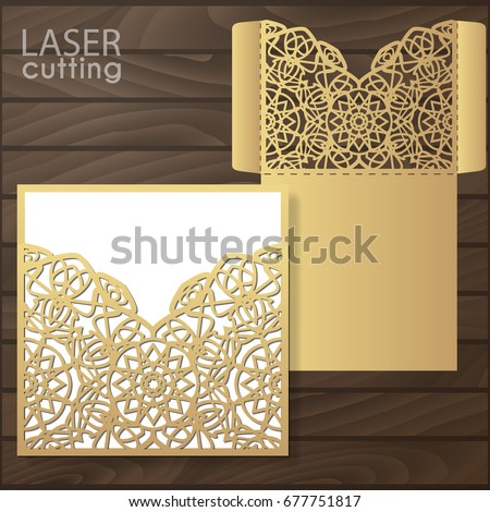 Die Laser Cut Wedding Card Vector Stock Vector Hd Royalty Free