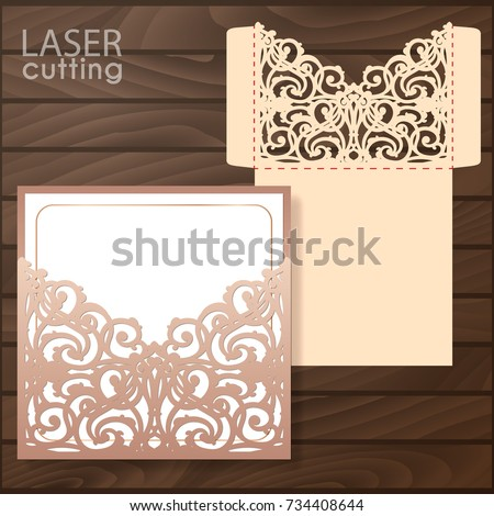 Die Laser Cut Wedding Card Vector Stock Vector