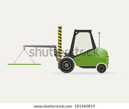 Diesel forklift with crane EPS 10 opacity - stock vector