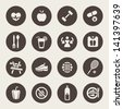 Diet and fitness theme icons set - stock vector