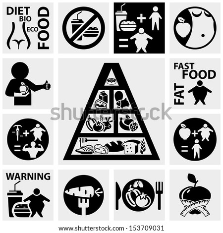 Diet and fitness vector icons set on gray - stock vector